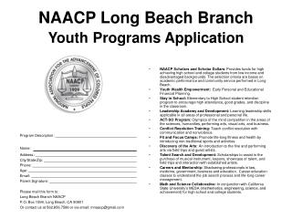 NAACP Long Beach Branch Youth Programs Application