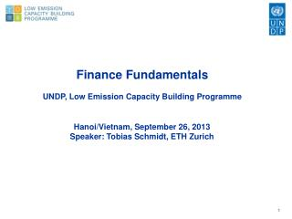 Finance Fundamentals UNDP, Low Emission Capacity Building Programme