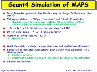 Geant4 Simulation of MAPS