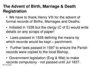 The Advent of Birth, Marriage & Death Registration