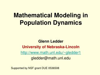 Mathematical Modeling in Population Dynamics
