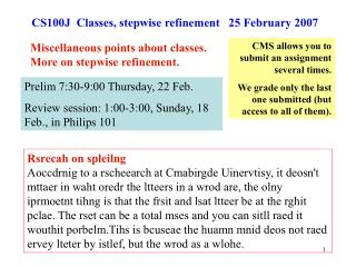 CS100J  Classes, stepwise refinement   25 February 2007