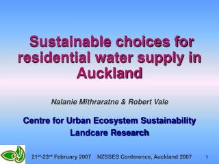 Sustainable choices for residential water supply in Auckland