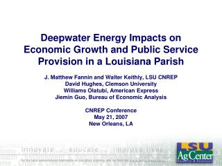Deepwater Energy Impacts on Economic Growth and Public Service Provision in a Louisiana Parish