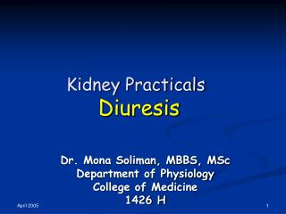 Kidney Practicals Diuresis