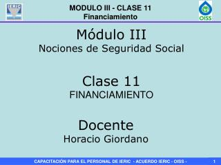 MODULO III - CLASE 11 Financiamiento