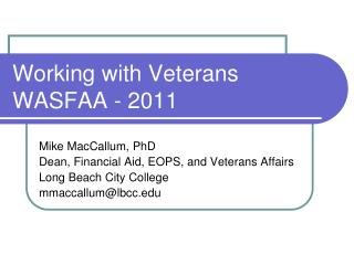 Working with Veterans WASFAA - 2011