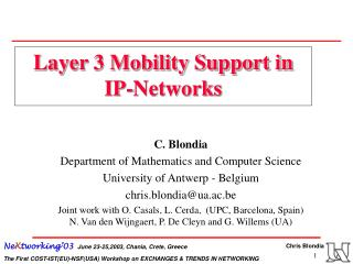 Layer 3 Mobility Support in IP-Networks