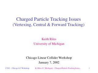 Charged Particle Tracking Issues (Vertexing, Central & Forward Tracking)