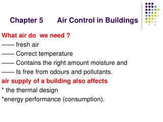 Chapter 5       Air Control in Buildings