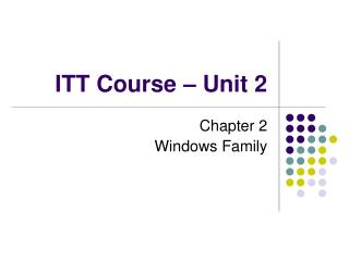 ITT Course – Unit 2
