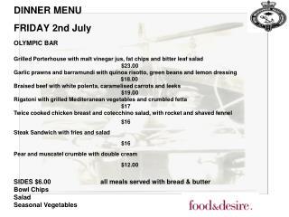 DINNER MENU FRIDAY 2nd July