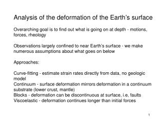 Analysis of the deformation of the Earth's surface