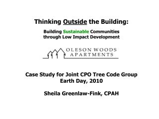 Thinking  Outside  the Building: Building  Sustainable  Communities