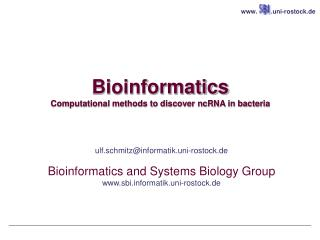 Bioinformatics Computational methods to discover ncRNA in bacteria