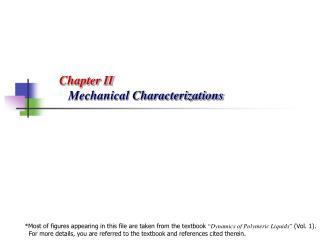 Chapter II Mechanical Characterizations