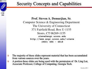 Security Concepts and Capabilities