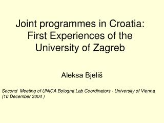 Joint programmes in Croatia: First Experiences of the University of Zagreb
