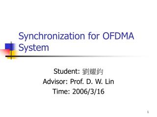Synchronization for OFDMA System