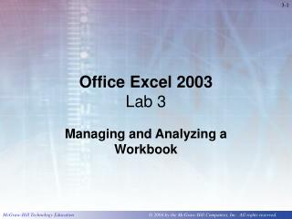 Office Excel 2003 Lab 3
