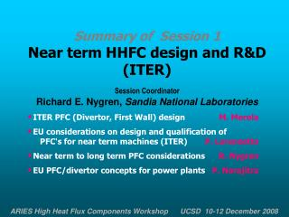 Summary of  Session 1 Near term HHFC design and R&D  (ITER) Session Coordinator