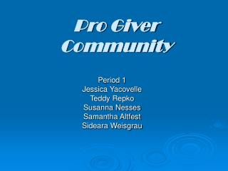 Pro Giver Community