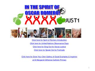 Click here for Spirit of Romero Introduction Click here for United Nations Observance Days