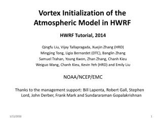 Vortex Initialization of the Atmospheric Model in HWRF