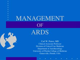 MANAGEMENT  OF ARDS