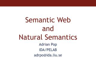 Semantic Web  and  Natural Semantics