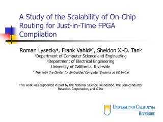 A Study of the Scalability of On-Chip Routing for Just-in-Time FPGA Compilation