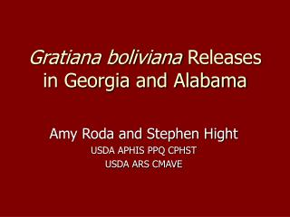 Gratiana boliviana  Releases in Georgia and Alabama