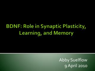 BDNF: Role in Synaptic Plasticity, Learning, and Memory