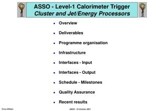 ASSO - Level-1 Calorimeter Trigger Cluster and Jet/Energy Processors