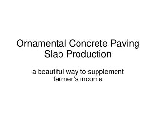 Ornamental Concrete Paving Slab Production