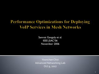 Performance Optimizations for Deploying VoIP Services in Mesh Networks
