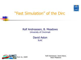 """Fast Simulation"" of the Dirc"