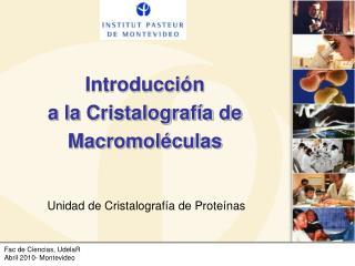 Introducci ón  a la Cristalografía de Macromoléculas