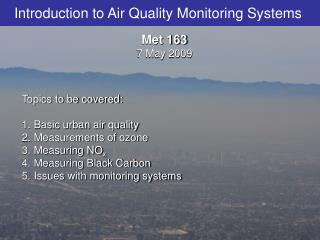 Introduction to Air Quality Monitoring Systems