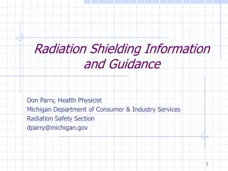 Radiation Shielding Information and Guidance