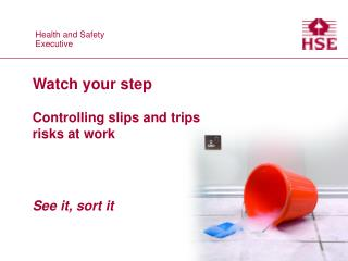Watch your step Controlling slips and trips  risks at work See it, sort it