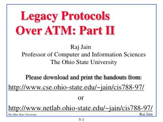Legacy Protocols  Over ATM: Part II