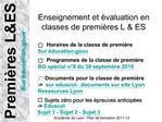 Enseignement et  valuation en classes de premi res L  ES