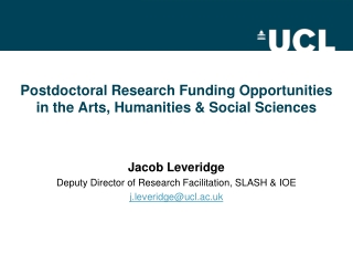 Postdoctoral Research Funding Opportunities in the Arts, Humanities & Social Sciences