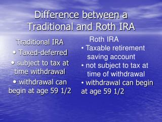 Difference between a Traditional and Roth IRA