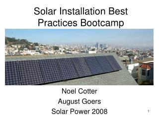 Solar Installation Best Practices Bootcamp
