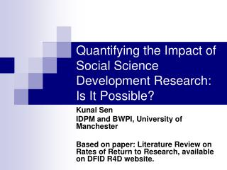 Quantifying the Impact of Social Science Development Research: Is It Possible?