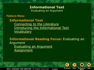 Informational Text Evaluating an Argument