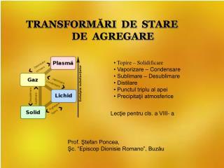 TRANSFORMĂRI  DE  STARE  DE  AGREGARE