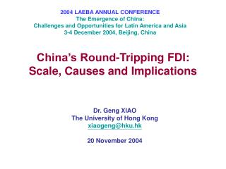 China's Round-Tripping FDI: Scale, Causes and Implications